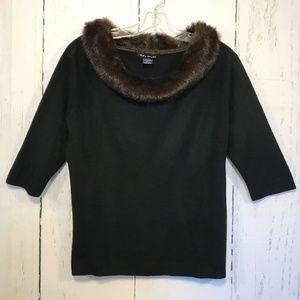 SML Sport Sweaters - SML Sport M Quality Black Sweater Faux Fur Collar